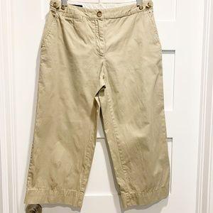 Lands' End Petite Beige Tan Wide Leg Crop Pants